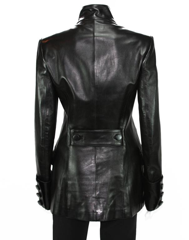 Tom Ford for Yves Saint Laurent F/W 2001 Leather Military Jacket Fr.38 5