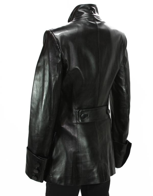 Tom Ford for Yves Saint Laurent F/W 2001 Leather Military Jacket Fr.38 6