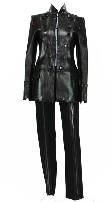 Tom Ford for Yves Saint Laurent F/W 2001 Leather Military Jacket Fr.38 8