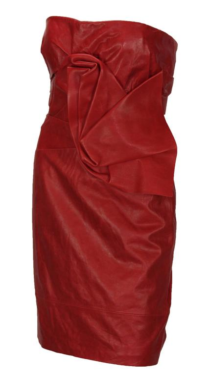New DSQUARED2 Runway Leather Dress Italian Size 42 - US 6 Color - Dark Red 100% Lamb Leather Internal Bra Draped Detailing Texture Leather, Aged Effect Fully Lined with Designer Fabric Zip Fly Closure Measurements: Length - 28 inches, Bust - 32