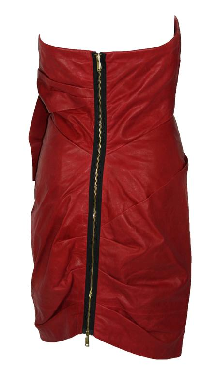 Women's New DSQUARED2 Runway Lamb Leather Red Dredd It. 42 - US 6 For Sale