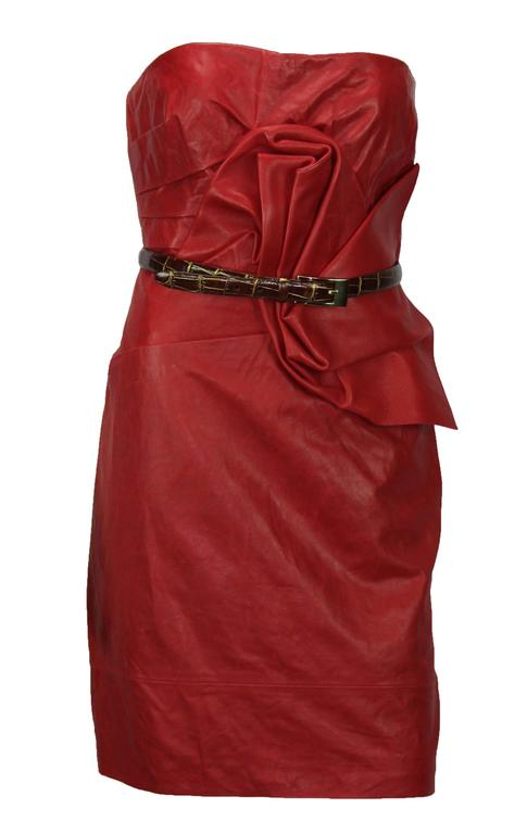 New DSQUARED2 Runway Lamb Leather Red Dredd It. 42 - US 6 For Sale 1