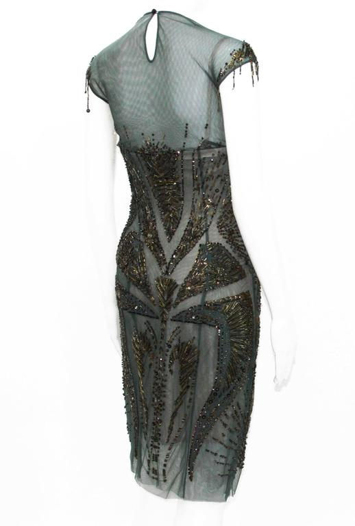 Gray New Roberto Cavalli Fully Beaded Green Mesh Cocktail Corset Dress 40  For Sale