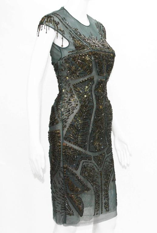 New Roberto Cavalli Fully Beaded Green Mesh Cocktail Corset Dress 40  In New Condition For Sale In Montgomery, TX