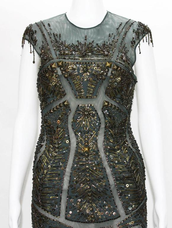 Women's New Roberto Cavalli Fully Beaded Green Mesh Cocktail Corset Dress 40  For Sale