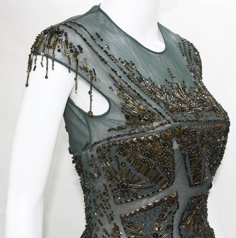 New Roberto Cavalli Fully Beaded Green Mesh Cocktail Corset Dress 40  6