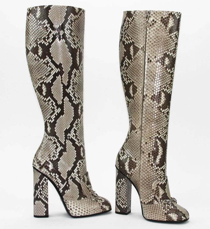 Cut Slim to Showcase Your Legs, The Season's Must-Have Boots Breathe Retro-Tinged Sophistication with Precious Candy-Colored Python and  a Chic Stacked Heel.   New GUCCI PYTHON Knee Height Boots Size Available: It. 37 - US 37.5    Colors - Beige,