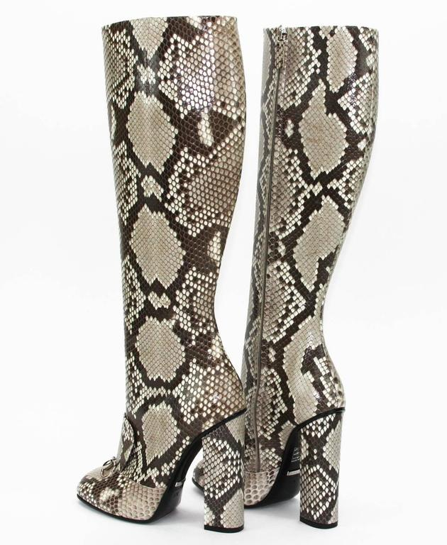 Gray New GUCCI Campaign $3500 Python Horsebit High Boots Beige Brown It 37 - US 37.5 For Sale