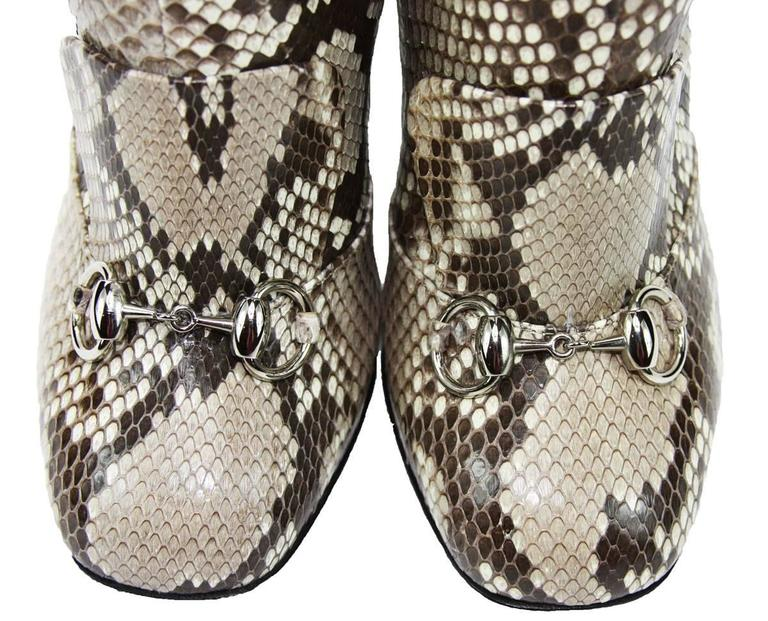 Women's New GUCCI Campaign $3500 Python Horsebit High Boots Beige Brown It 37 - US 37.5 For Sale