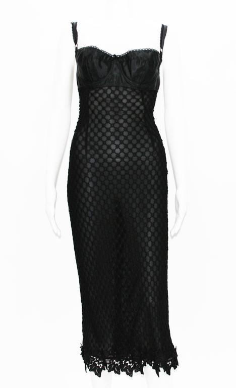 DOLCE & GABBANA Lace Sexy Bustier Stretch Sheer Black Dress  4