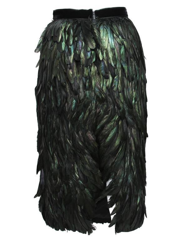 Gucci Runway Silk Feather Dark Green Exotic Skirt 40 - 4 2