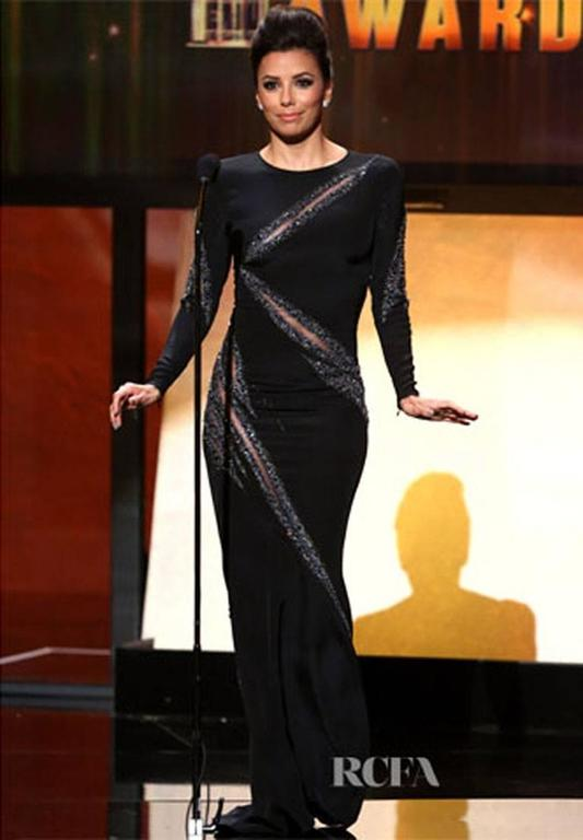 Black Emilio Pucci Embellished Gown Eva Longoria Wore to the ALMA Awards It 38 US 4 For Sale