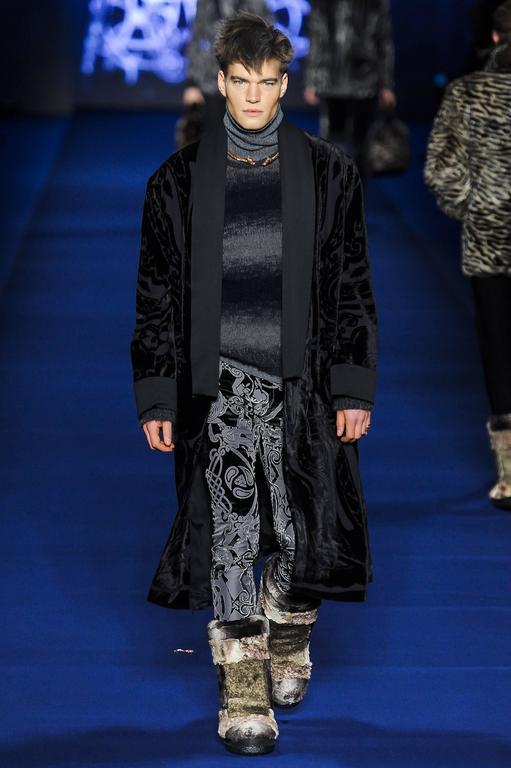 New Etro Runway Men S Robe Kimono Coat Black Velvet Satin