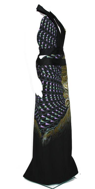 New ETRO Runway Printed Side Cutout Open Back Gown 40 - 4 6