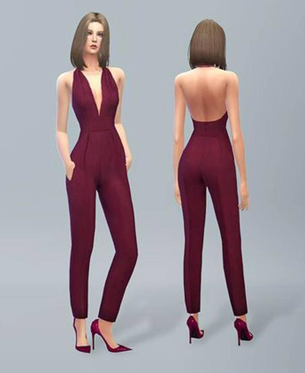 New Gucci Sexy Halterneck Silk Cady Burgundy Jumpsuit 2