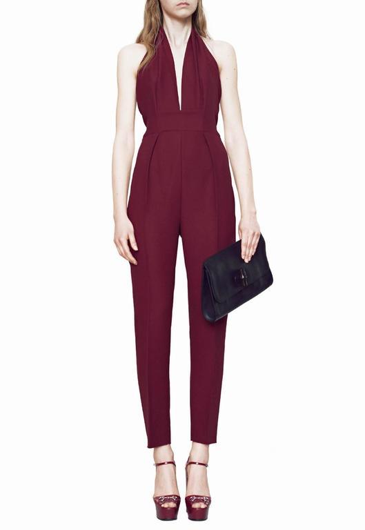 New Gucci Sexy Halterneck Silk Cady Burgundy Jumpsuit 3
