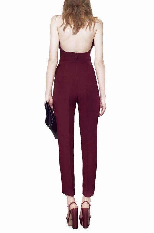 New Gucci Sexy Halterneck Silk Cady Burgundy Jumpsuit 4