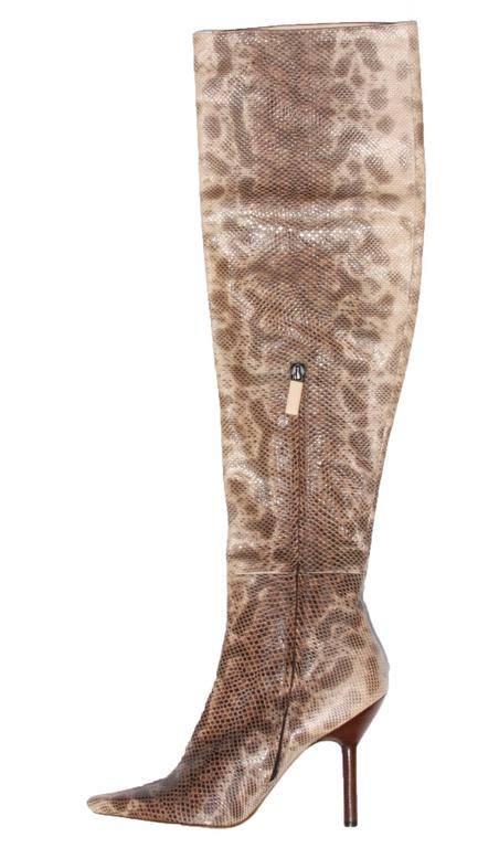 e7f28b30481 Tom Ford for Gucci Over Knee Snake Boots F W 1999 Collection Designer size -