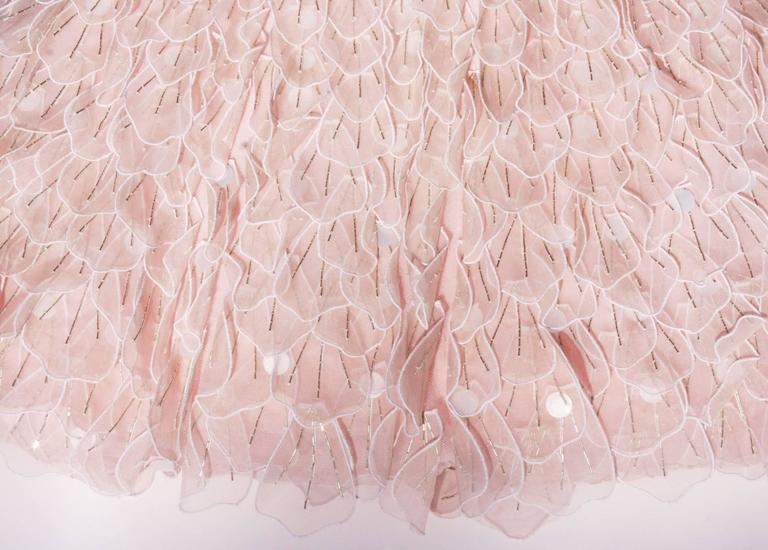 New OSCAR DE LA RENTA Bead Embellished Corset Pale Pink Silk Flare Dress  In New Never_worn Condition For Sale In Montgomery, TX