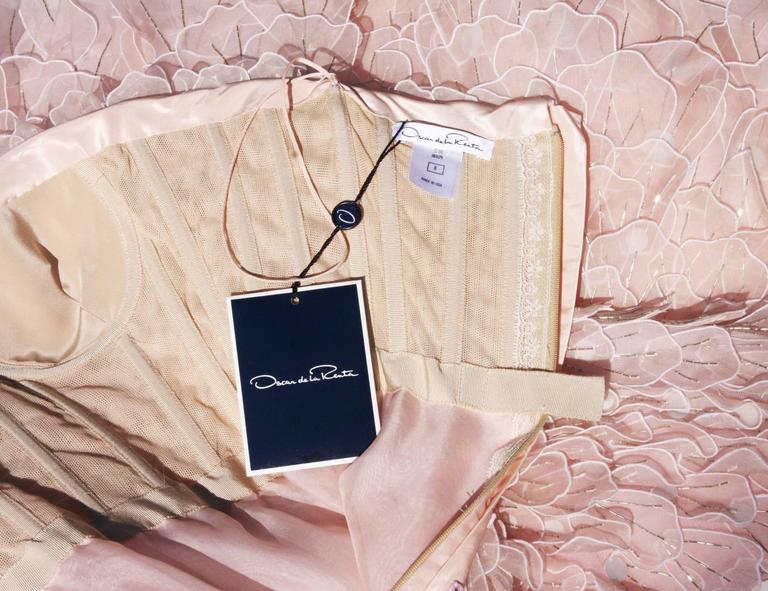 New OSCAR DE LA RENTA Bead Embellished Corset Pale Pink Silk Flare Dress  5