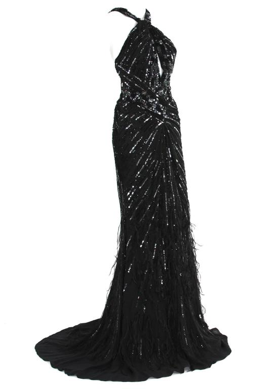 Black New Roberto Cavalli Feather Beads Embellished Silk-Chiffon Open Back Gown 40 For Sale
