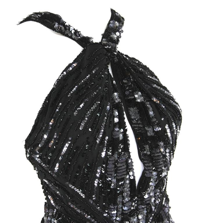 Women's New Roberto Cavalli Feather Beads Embellished Silk-Chiffon Open Back Gown 40 For Sale
