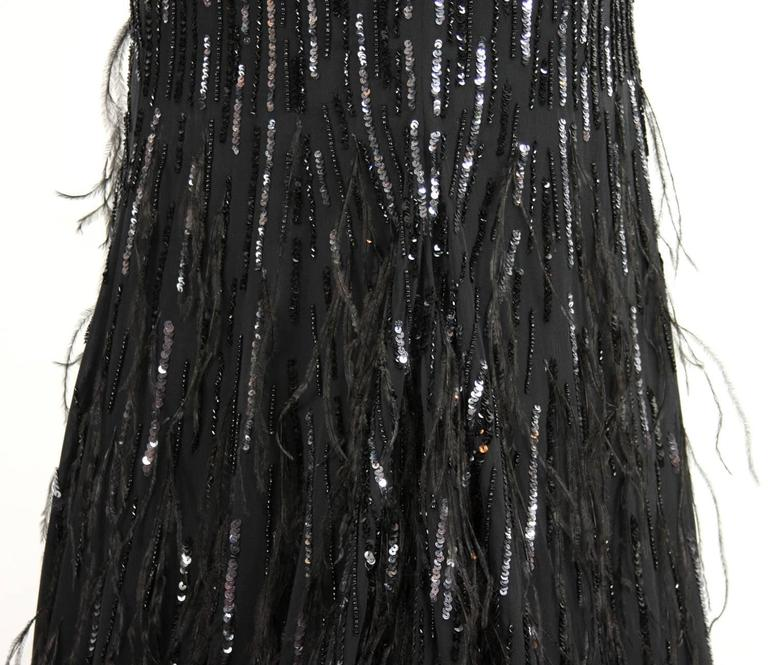 New Roberto Cavalli Feather Beads Embellished Silk-Chiffon Open Back Gown 40 8