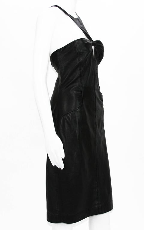 Tom Ford for Gucci Black Leather Cocktail Dress 2004 Collection Italian size 44  Color - Black. 100% Super Soft Leather, Fully Lined, Side Zip Closure. Measurements: Length - 40 inches, Waist - 30