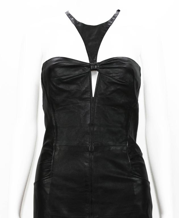 Tom Ford for Gucci 2004 Collection Black Leather Cocktail Dress It. 44 - US 8 For Sale 1