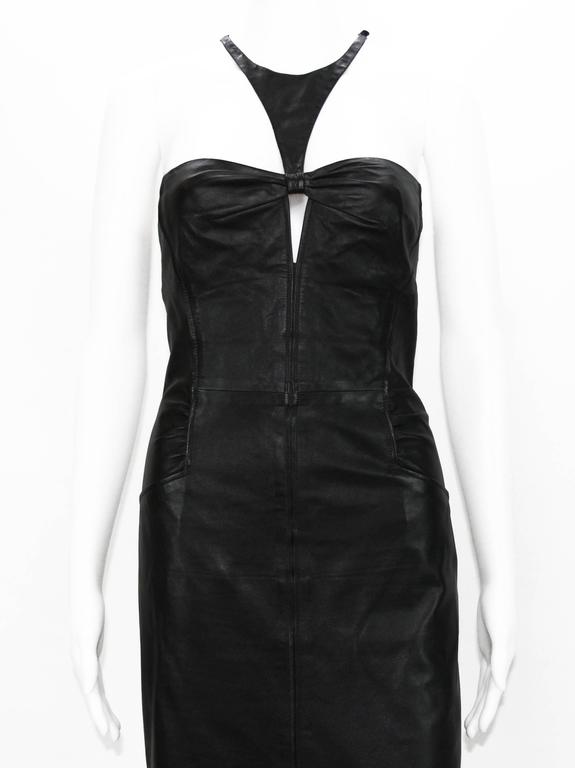 Tom Ford for Gucci 2004 Collection Black Leather Cocktail Dress It. 44 - US 8 For Sale 5