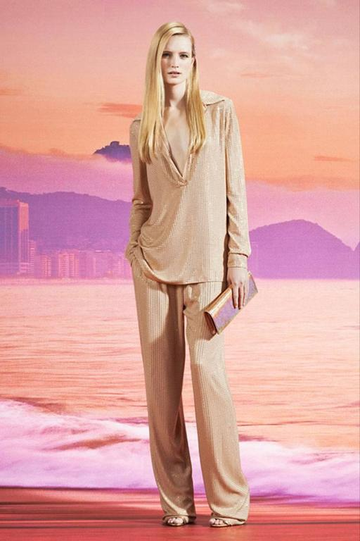 New Gucci Fully Embellished Evening Pant Suit Italian size 40 (because of style will fit bigger sizes). Color - Tan Fully Embellished with Rhinestone Made in Italy Retail $5350.00 New with tags