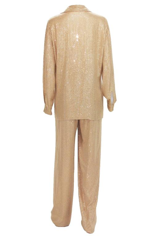 Brown New $5350 Gucci Fully Embellished Rhinestone Tan Evening Pant Suit It.40 For Sale