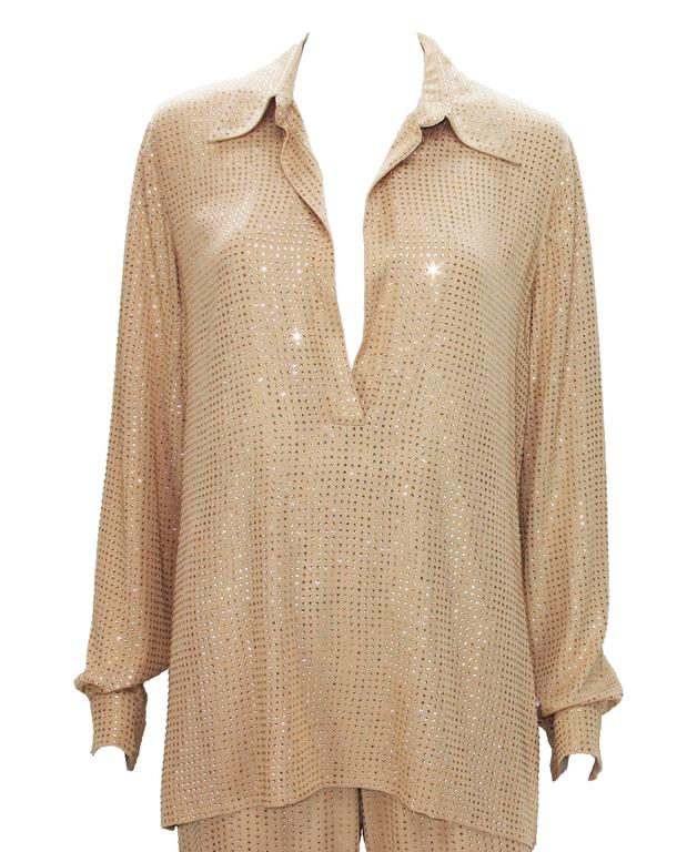 New $5350 Gucci Fully Embellished Rhinestone Tan Evening Pant Suit It.40 In New Condition For Sale In Montgomery, TX