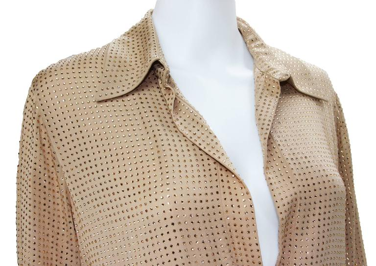 Women's New $5350 Gucci Fully Embellished Rhinestone Tan Evening Pant Suit It.40 For Sale