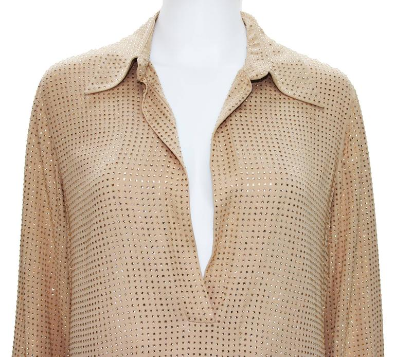 New $5350 Gucci Fully Embellished Rhinestone Tan Evening Pant Suit It.40 For Sale 1