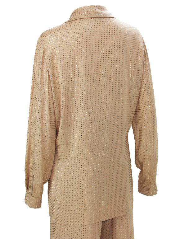 New $5350 Gucci Fully Embellished Rhinestone Tan Evening Pant Suit It.40 For Sale 2