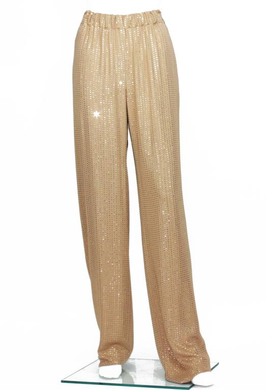 New $5350 Gucci Fully Embellished Rhinestone Tan Evening Pant Suit It.40 For Sale 3