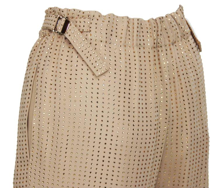 New $5350 Gucci Fully Embellished Rhinestone Tan Evening Pant Suit It.40 For Sale 4