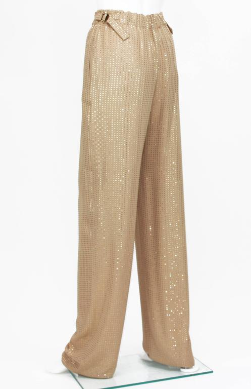 New $5350 Gucci Fully Embellished Rhinestone Tan Evening Pant Suit It.40 For Sale 5