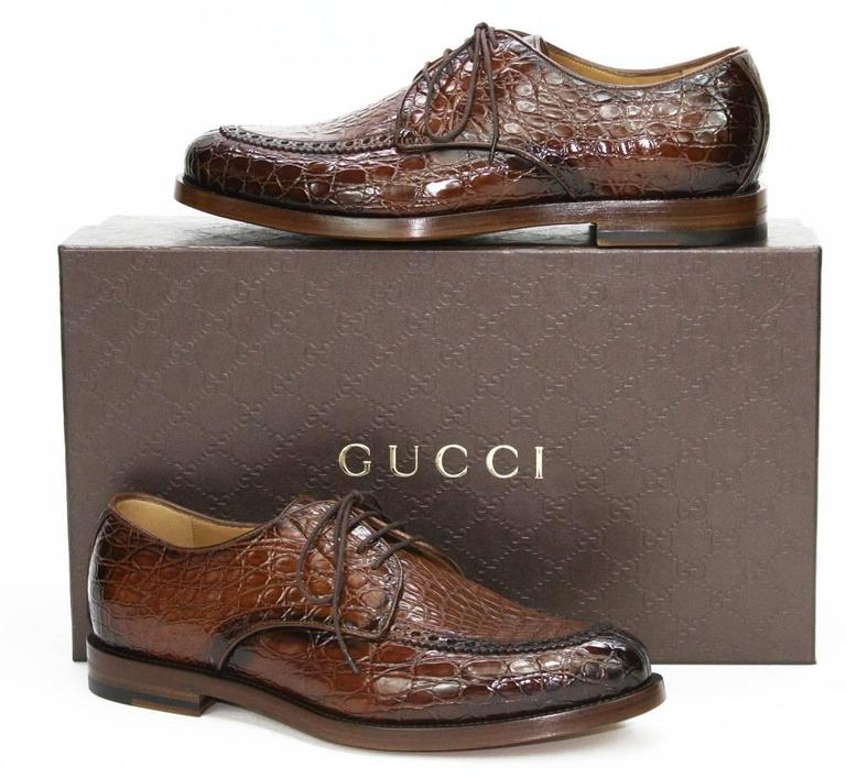 1e292ae2814 New  4000 Gucci Millennium Mens Shaded Crocodile Oxford Brown Shoes US 7.5  It 41 In New