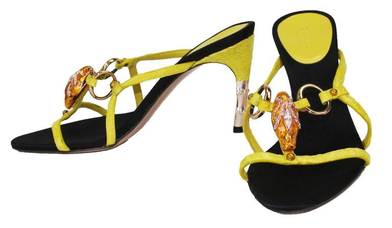 Tom Ford for Gucci S/S 2004 Collection Crocodile Jeweled Snake Head Bamboo Shoes 2