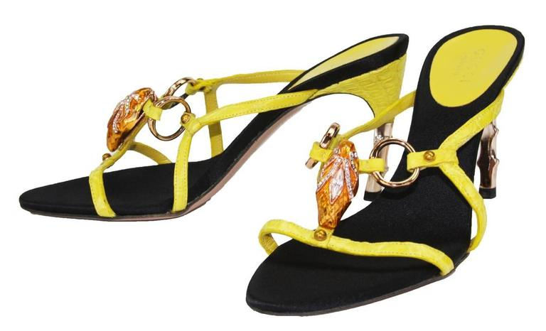 Tom Ford for Gucci S/S 2004 Collection Crocodile Jeweled Snake Head Bamboo Shoes 4