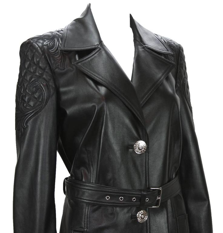 b775df10da New Versace $7725 Quilted Black Soft Leather Women's Trench Coat with Belt