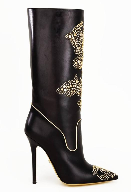 New Versace Gold Studded Stiletto Heel Black Boots It 41