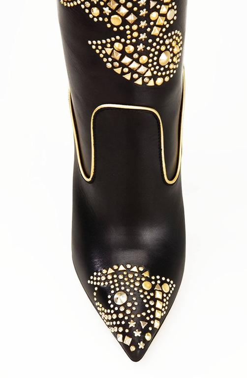 New VERSACE Gold Studded Stiletto Heel Black Boots It 41 ...
