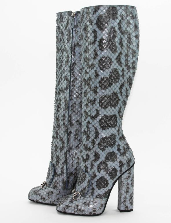 Gray New GUCCI Campaign $3500 PYTHON Horsebit Knee High Boot Aquamarine 36.5 - 7 For Sale