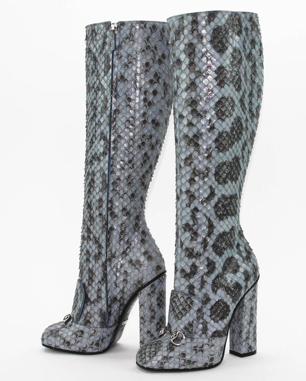 Women's New GUCCI Campaign $3500 PYTHON Horsebit Knee High Boot Aquamarine 36.5 - 7 For Sale