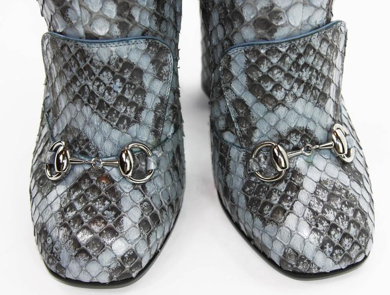 New GUCCI Campaign $3500 PYTHON Horsebit Knee High Boot Aquamarine 36.5 - 7 For Sale 1