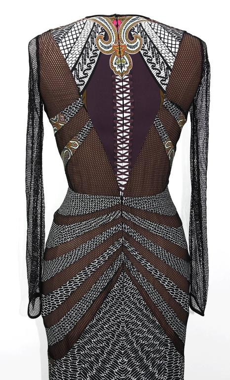 New 5780 Etro Runway Printed Stretch Dress Gown With Mesh