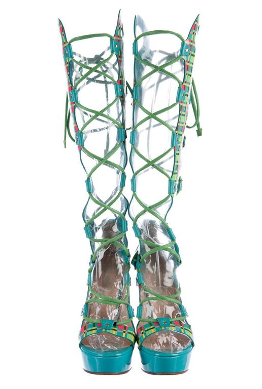 Gray New Versace  Lace-up Gladiator Leather Platform Boots Sandals It. 38.5 - US 8.5 For Sale